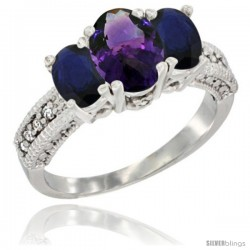 14k White Gold Ladies Oval Natural Amethyst 3-Stone Ring with Blue Sapphire Sides Diamond Accent