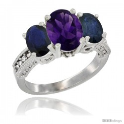 14K White Gold Ladies 3-Stone Oval Natural Amethyst Ring with Blue Sapphire Sides Diamond Accent