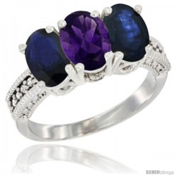 14K White Gold Natural Amethyst & Blue Sapphire Sides Ring 3-Stone 7x5 mm Oval Diamond Accent