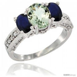 14k White Gold Ladies Oval Natural Green Amethyst 3-Stone Ring with Blue Sapphire Sides Diamond Accent