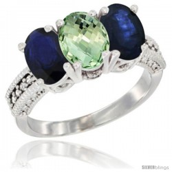 14K White Gold Natural Green Amethyst & Blue Sapphire Sides Ring 3-Stone 7x5 mm Oval Diamond Accent
