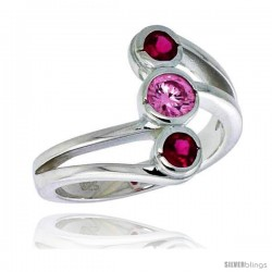 Highest Quality Sterling Silver 5/8 in (16 mm) wide Right Hand Ring, Bezel Set Brilliant Cut Ruby & Pink Tourmaline-colored CZ