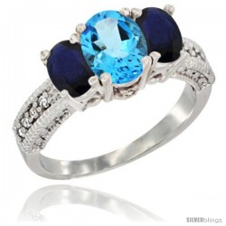 14k White Gold Ladies Oval Natural Swiss Blue Topaz 3-Stone Ring with Blue Sapphire Sides Diamond Accent
