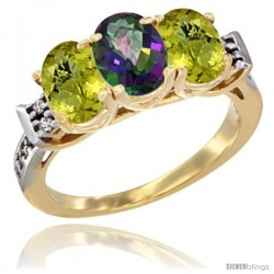 10K Yellow Gold Natural Mystic Topaz & Lemon Quartz Sides Ring 3-Stone Oval 7x5 mm Diamond Accent