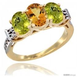 10K Yellow Gold Natural Citrine & Lemon Quartz Sides Ring 3-Stone Oval 7x5 mm Diamond Accent