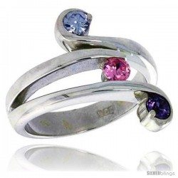Highest Quality Sterling Silver 3/4 in (17 mm) wide Right Hand Ring, Brilliant Cut Amethyst & Pink Tourmaline-colored CZ Stones