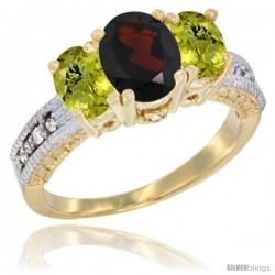 10K Yellow Gold Ladies Oval Natural Garnet 3-Stone Ring with Lemon Quartz Sides Diamond Accent