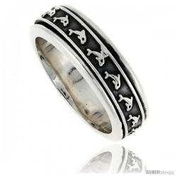 Sterling Silver Men's Spinner Ring Embossed Dolphin Pattern Center Handmade 5/16 wide