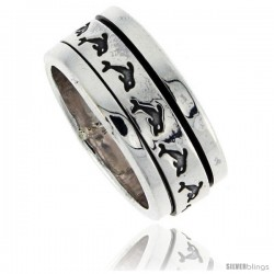 Sterling Silver Men's Spinner Ring Dolphin Pattern Flat Center Handmade 3/8 in wide