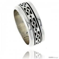 Sterling Silver Men's Spinner Ring Native American Pattern Center Handmade 3/8 in wide