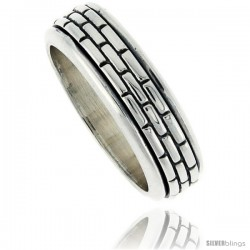 Sterling Silver Men's Spinner Ring Brick Pattern Center Handmade 5/16 wide