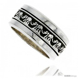 Sterling Silver Men's Spinner Ring Good Luck Elephant Chain Pattern Handmade 3/8 in wide