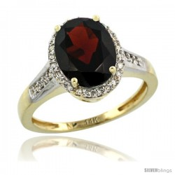 14k Yellow Gold Diamond Garnet Ring 2.4 ct Oval Stone 10x8 mm, 1/2 in wide