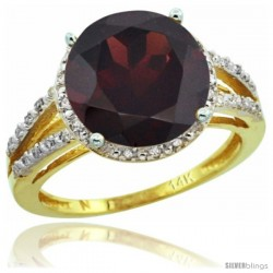 14k Yellow Gold Diamond Garnet Ring 5.25 ct Round Shape 11 mm, 1/2 in wide