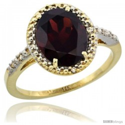 14k Yellow Gold Diamond Garnet Ring 2.4 ct Oval Stone 10x8 mm, 1/2 in wide -Style Cy410111