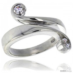 Highest Quality Sterling Silver 5/8 in (16 mm) wide Right Hand Ring, Brilliant Cut CZ Stones