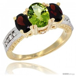 14k Yellow Gold Ladies Oval Natural Peridot 3-Stone Ring with Garnet Sides Diamond Accent