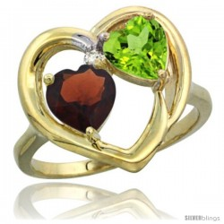 14k Yellow Gold 2-Stone Heart Ring 6mm Natural Garnet & Peridot Diamond Accent