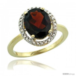 14k Yellow Gold Diamond Garnet Ring 2.4 ct Oval Stone 10x8 mm, 1/2 in wide -Style Cy410114