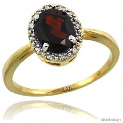 14k Yellow Gold Diamond Halo Garnet Ring 1.2 ct Oval Stone 8x6 mm, 1/2 in wide