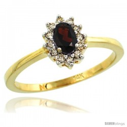 14k Yellow Gold Diamond Halo Garnet Ring 0.25 ct Oval Stone 5x3 mm, 5/16 in wide