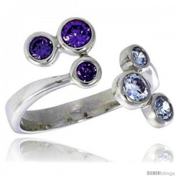Highest Quality Sterling Silver 5/8 in (16 mm) wide Right Hand Ring, Bezel Set Brilliant Cut Alexandrite & Amethyst-colored CZ