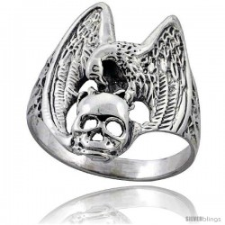 Sterling Silver Vulture with Skull Gothic Biker Ring 1 in wide