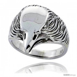 Sterling Silver Eagle Head Ring 3/4 in wide