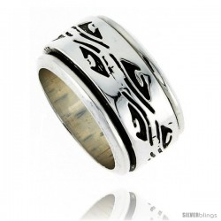 Sterling Silver Men's Spinner Ring Native American Pattern Handmade 1/2 in wide