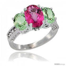 10K White Gold Ladies Natural Pink Topaz Oval 3 Stone Ring with Green Amethyst Sides Diamond Accent