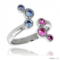 Highest Quality Sterling Silver 5/8 in (16 mm) wide Right Hand Ring, Bezel Set Brilliant Cut Alexandrite & Pink