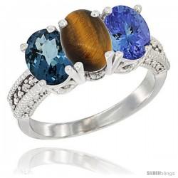14K White Gold Natural London Blue Topaz, Tiger Eye & Tanzanite Ring 3-Stone 7x5 mm Oval Diamond Accent