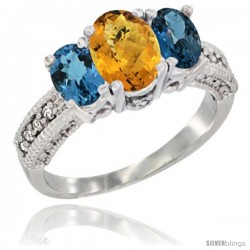 14k White Gold Ladies Oval Natural Whisky Quartz 3-Stone Ring with London Blue Topaz Sides Diamond Accent