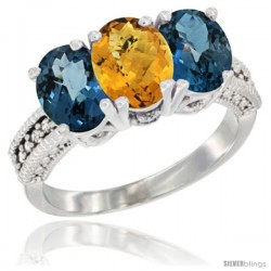 14K White Gold Natural Whisky Quartz & London Blue Topaz Sides Ring 3-Stone 7x5 mm Oval Diamond Accent