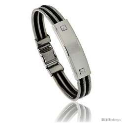 Gent's Stainless Steel Cable & Rubber ID Bangle Bracelet 1/2 in wide, 8 1/2 in long -Style Bss121b
