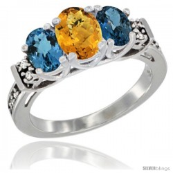 14K White Gold Natural Whisky Quartz & London Blue Ring 3-Stone Oval with Diamond Accent