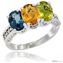 14K White Gold Natural London Blue Topaz, Whisky Quartz & Lemon Quartz Ring 3-Stone 7x5 mm Oval Diamond Accent
