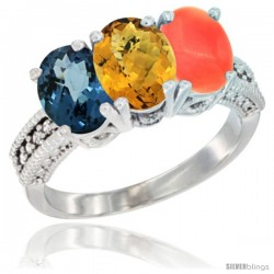 14K White Gold Natural London Blue Topaz, Whisky Quartz & Coral Ring 3-Stone 7x5 mm Oval Diamond Accent