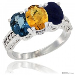 14K White Gold Natural London Blue Topaz, Whisky Quartz & Lapis Ring 3-Stone 7x5 mm Oval Diamond Accent