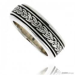 Sterling Silver Men's Spinner Ring Braided Pattern Center Handmade Handmade 5/16 wide