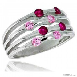 Highest Quality Sterling Silver 3/8 in (10 mm) wide Right Hand Ring, Brilliant Cut Ruby & Pink Tourmaline-colored CZ Stones