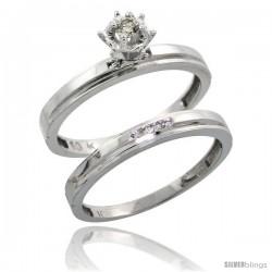 10k White Gold Ladies' 2-Piece Diamond Engagement Wedding Ring Set, 1/8 in wide -Style Ljw106e2