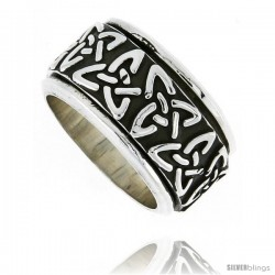 Sterling Silver Men's Spinner Ring Celtic Trinity Triquetra Pattern Handmade 1/2 in wide