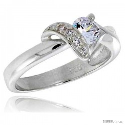 Highest Quality Sterling Silver 5/16 in (8 mm) wide Right Hand Knot Ring, Brilliant Cut CZ Stones