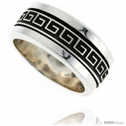 Sterling Silver Men's Spinner Ring Greek Key Pattern Center Handmade 3/8 in wide