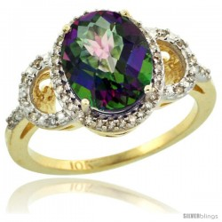 10k Yellow Gold Diamond Halo Mystic Topaz Ring 2.4 ct Oval Stone 10x8 mm, 1/2 in wide