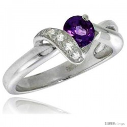 Highest Quality Sterling Silver 5/16 in (8 mm) wide Right Hand Knot Ring, Brilliant Cut Clear & Amethyst-colored CZ Stones