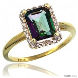 10k Yellow Gold Diamond Mystic Topaz Ring 1.6 ct Emerald Shape 8x6 mm, 1/2 in wide