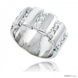 Gent's Perfect Quality Sterling Silver Brilliant Cut Cubic Zirconia Ring