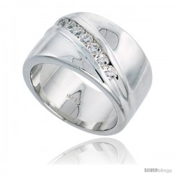 Gent's Perfect Quality Sterling Silver Brilliant Cut Cubic Zirconia Ring -Style Rcz527